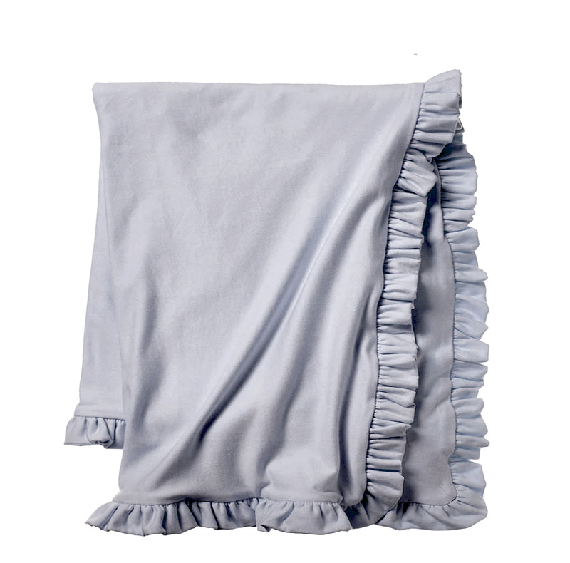 Cozy Sweatshirt Ruffle Throw - Chambray