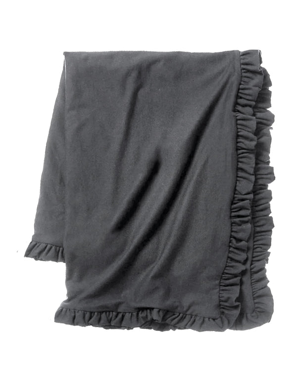 Cozy Sweatshirt Ruffle Throw - Coal
