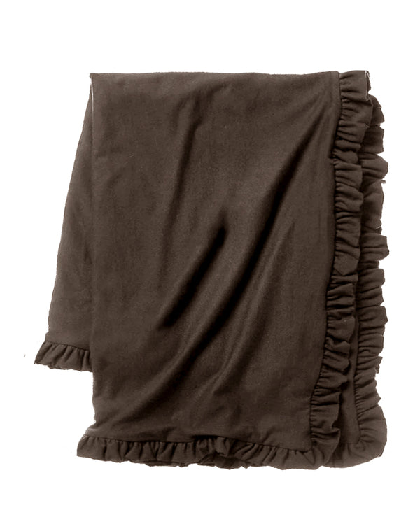 Cozy Sweatshirt Ruffle Throw - Cocoa