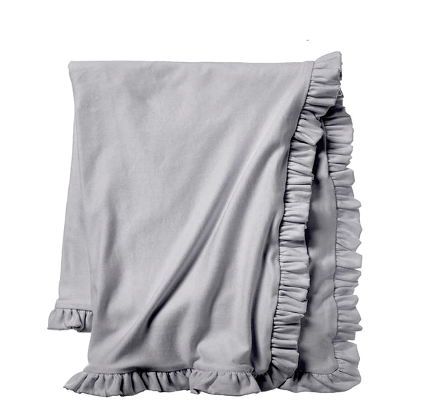 Cozy Sweatshirt Ruffle Throw - Soft Grey