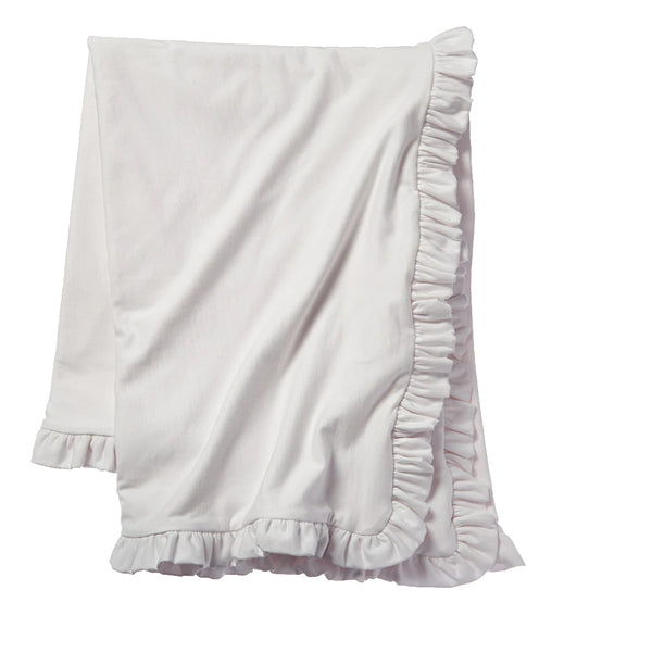 Cozy Sweatshirt Ruffle Throw - White