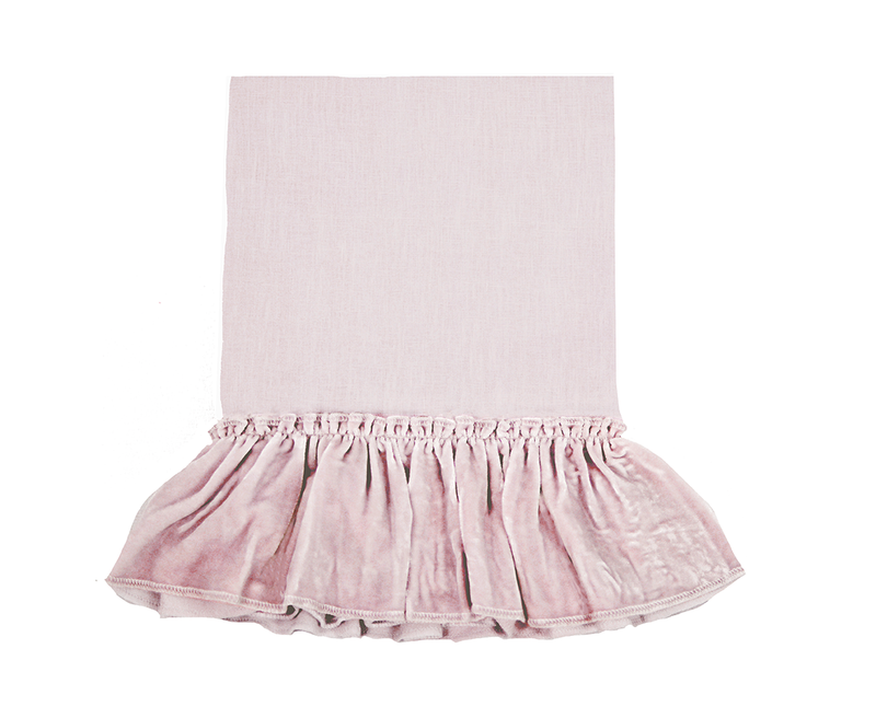Silk Velvet Ruffle Linen Bedding - Rose Blush