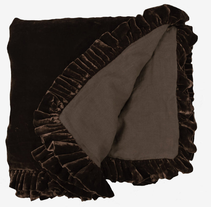 Washed Silk Velvet Ruffle Throw - Cocoa