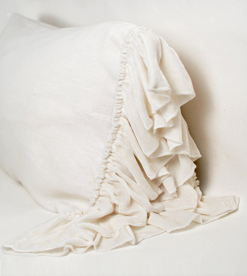 Washed Velvet Ruffle 3 Pc Duvet Set - Creme