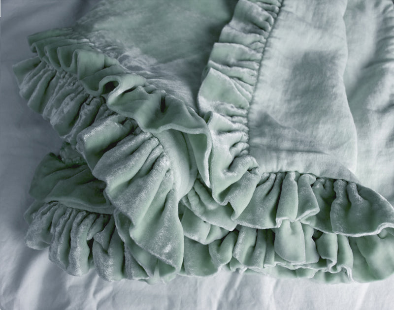 Washed Velvet Ruffle Collection - Mint