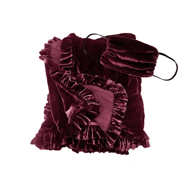Silk Velvet Ruffle Throw and Mask Gift Set- Wine