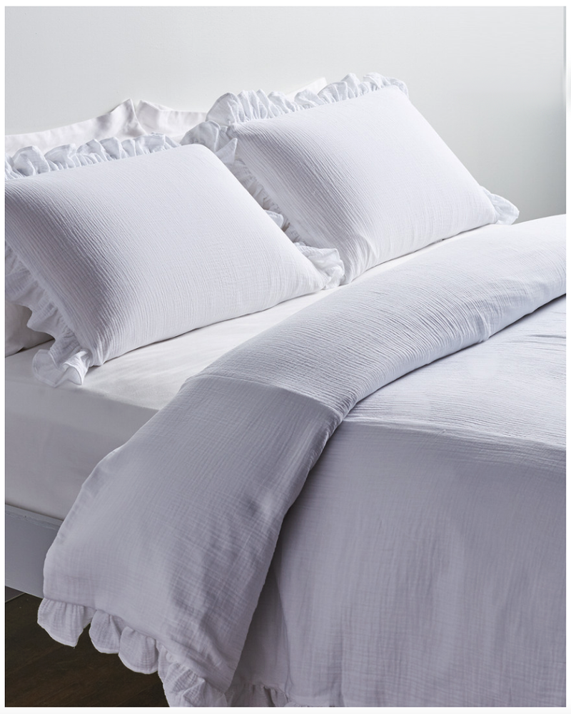 Soft Pucker Ruffle  Duvet Set-White