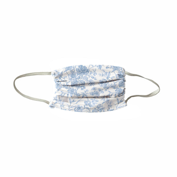 French Toile Face Mask- Soft Blue