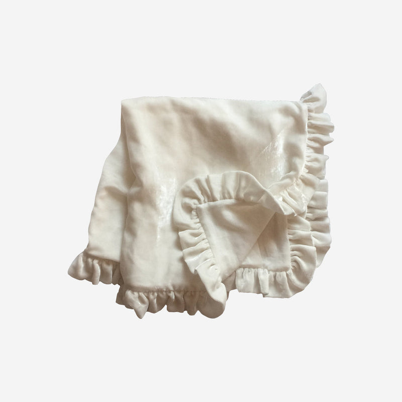 Washed Silk Velvet Ruffle Throw - Creme