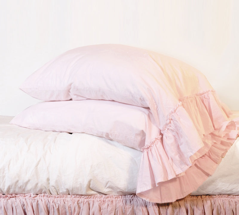 Poplin Tatter Ruffle PIllowcase  - Rose Blush