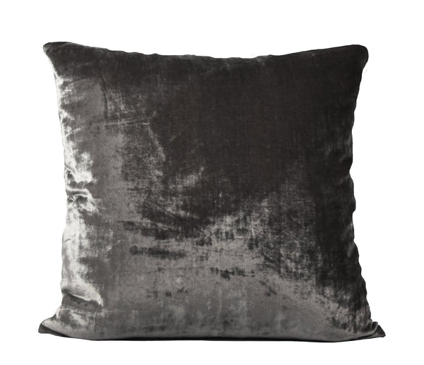 Washed Silk Velvet Euro Sham - Coal