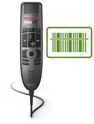 Philips SMP3800 SpeechMike Premium Touch : Push Button with Barcode Scanner