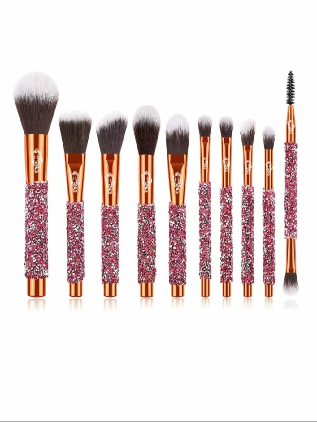 Panther Rhinestone  10 Pcs Makeup Brush Set freeshipping - Panther
