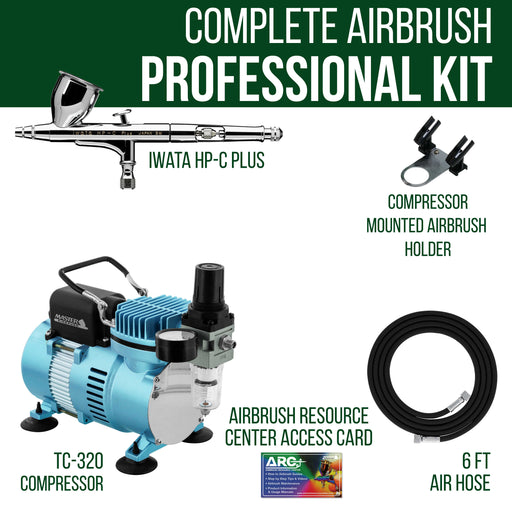 High Performance Plus HP-C Plus Airbrush Kit with Cool Runner II Dual Fan Air Compressor System Kit