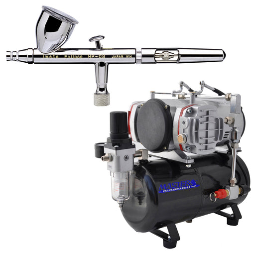Iwata Eclipse HP-CS 4207 Dual-Action Airbrush with 0.35 mm. Tip with Twin Cylinder Piston Airbrush Air Compressor with Air Storage