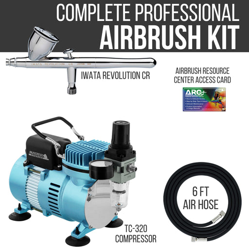 Iwata Revolution CR Airbrush Kit with Cool Runner II Dual Fan Air Tank Compressor & Air Hose