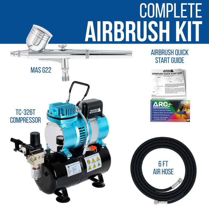 Cool Runner II Dual Fan Air Storage Tank Compressor System Kit with a G22 Gravity Feed Airbrush Set with 0.3 mm Tip - Hose, Holder, How-To Guide