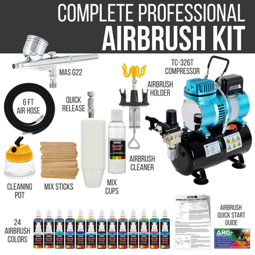 Cool Runner II Dual Fan Air Tank Compressor System Kit with Gravity Feed Airbrush, 24 Color Acrylic Paint Artist Set, Hose, Cleaning Pot, How-To Guide