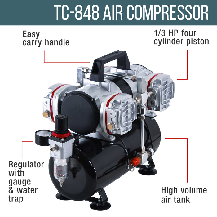 Model G33 3 Tip Size Airbrushing System with Model TC-848 4 Cylinder Piston Air Compressor with Air Storage Tank