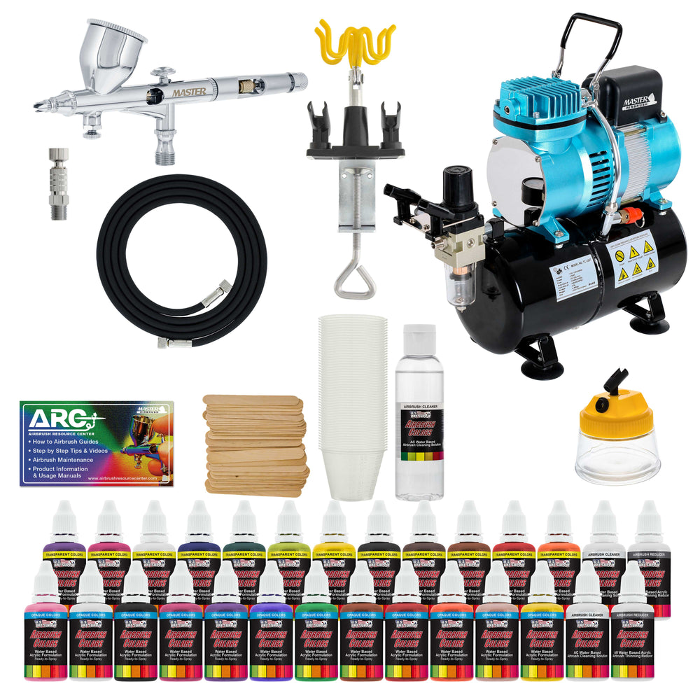 Complete Professional Airbrush System Kit with G44 Master Airbrush, Master Compressor TC-20T, 24 Color US Art Supply Paint Set with Reducer & Airbrush Cleaner, Accessories