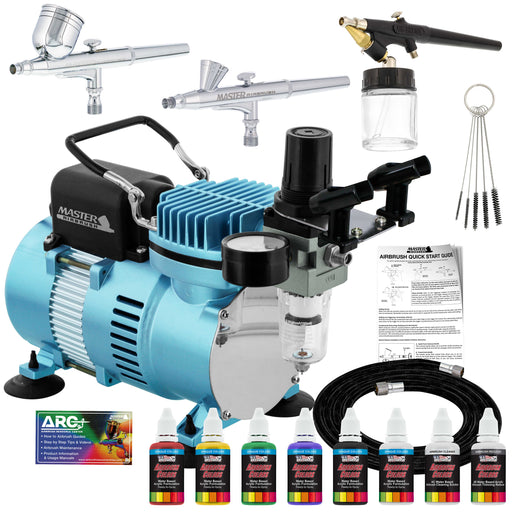 Cool Runner II Dual Fan Air Compressor Airbrushing System Kit with 3 Airbrushes, 6 Primary Opaque Colors Acrylic Paint Artist Set - How To Guide