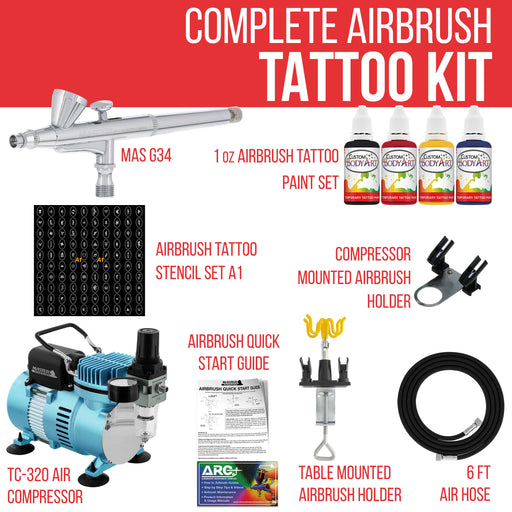 Master Airbrush Cool Runner II Dual Fan Air Compressor Custom Body Art System Kit with Gravity Feed Airbrush, 4 Color Temporary Tattoo Airbrush Paint Set, 100 Stencils, Reusable Self-Adhesive Designs