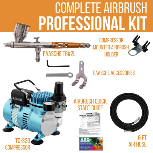 Talon TG Series Dual-Action Gravity Feed Airbrush Kit with High Performance Air Compressor & Air Hose