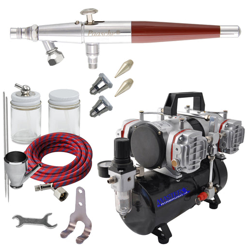 Paasche VLS Series Dual-Action Siphon Feed Airbrush Kit with High Performance Four-Cylinder Piston Air Compressor with Tank