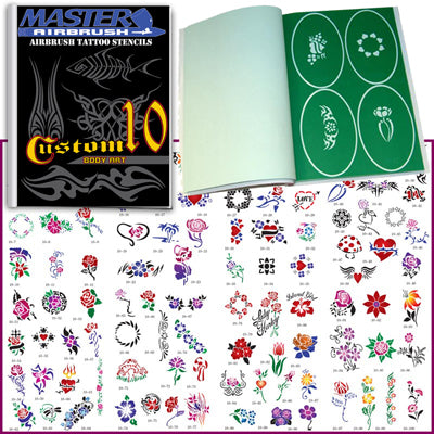 Temporary Tattoo Stencils Booklet Set 10 with 100 Different Self-Adhesive Reusable Stencil Designs