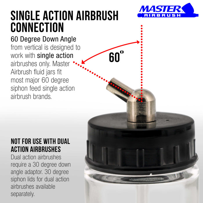 Master Airbrush (Pack of 10) TB-003 Empty 3/4 Ounce (22cc) Glass Jar Bottles with 60° Down Angle Adaptor Lid Assembly - Fits Single-Action Siphon Feed Airbrushes, Use with Master Badger Paasche, Iwata