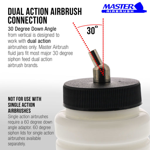 10 Pack Master Airbrush TB-006, 2.7 oz Plastic Jar Bottles with 30­ Down Angle Adaptor Lid Assembly, Dual-Action Siphon