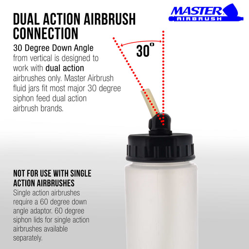 10 Pack Master Airbrush TB-008, 2.7oz Plastic Jar Bottles with 60­ Down Angle Adaptor Lid Assembly, Single-Action Siphon