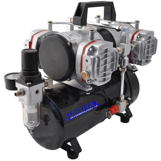 Model TC-848 - Professional High Performance 4 Cylinder Piston Airbrush Air Compressor with Air Storage Tank, Regulator & Filter (Includes 6 ft. Braided Air Hose)