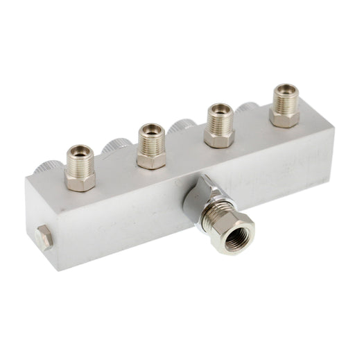 "4 Way Air Hose Splitter with Metered Airbrush Manifold with 1/4"" BSP Female Air Inlet & 4 - 1/8"" BSP Male Air Outlets"