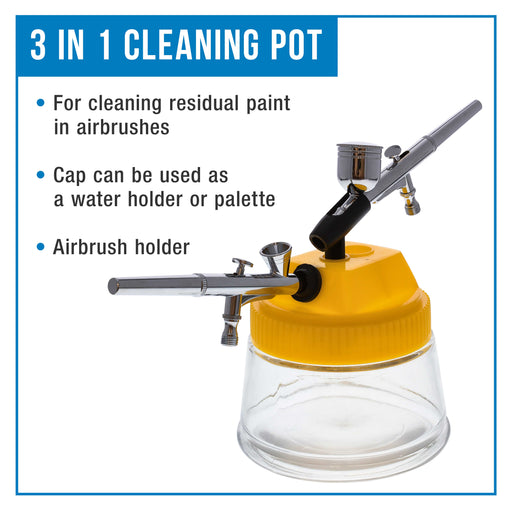 Airbrush 3 in 1 Cleaning Pot with Holder with 4 Replacement Filters and a Paint Syringe