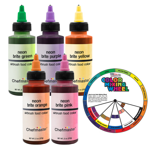 U.S. Cake Supply by Chefmaster 5 Color Neon 2-Ounce Cake Color Kit