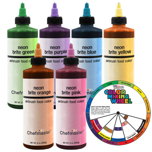 U.S. Cake Supply by Chefmaster 6 Color Neon 9-Ounce Cake Color Kit