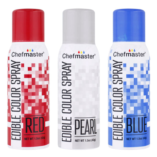 Chefmaster Edible Spray Color 4th of July Theme 3-Pack - 1.5 ounce Cans (Red, Blue, Pearl)