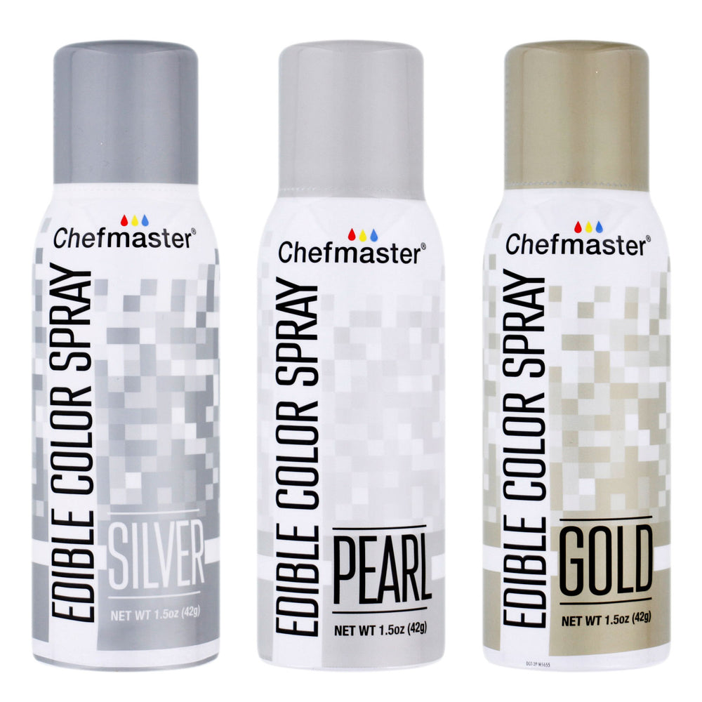 Chefmaster Edible Spray Color Metallic Theme 3-Pack - 1.5 ounce Cans (Gold, Silver, Pearl)