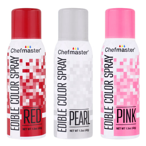 Chefmaster Edible Spray Color Valentines Theme 3-Pack - 1.5 ounce Cans (Red, Pink, Pearl)