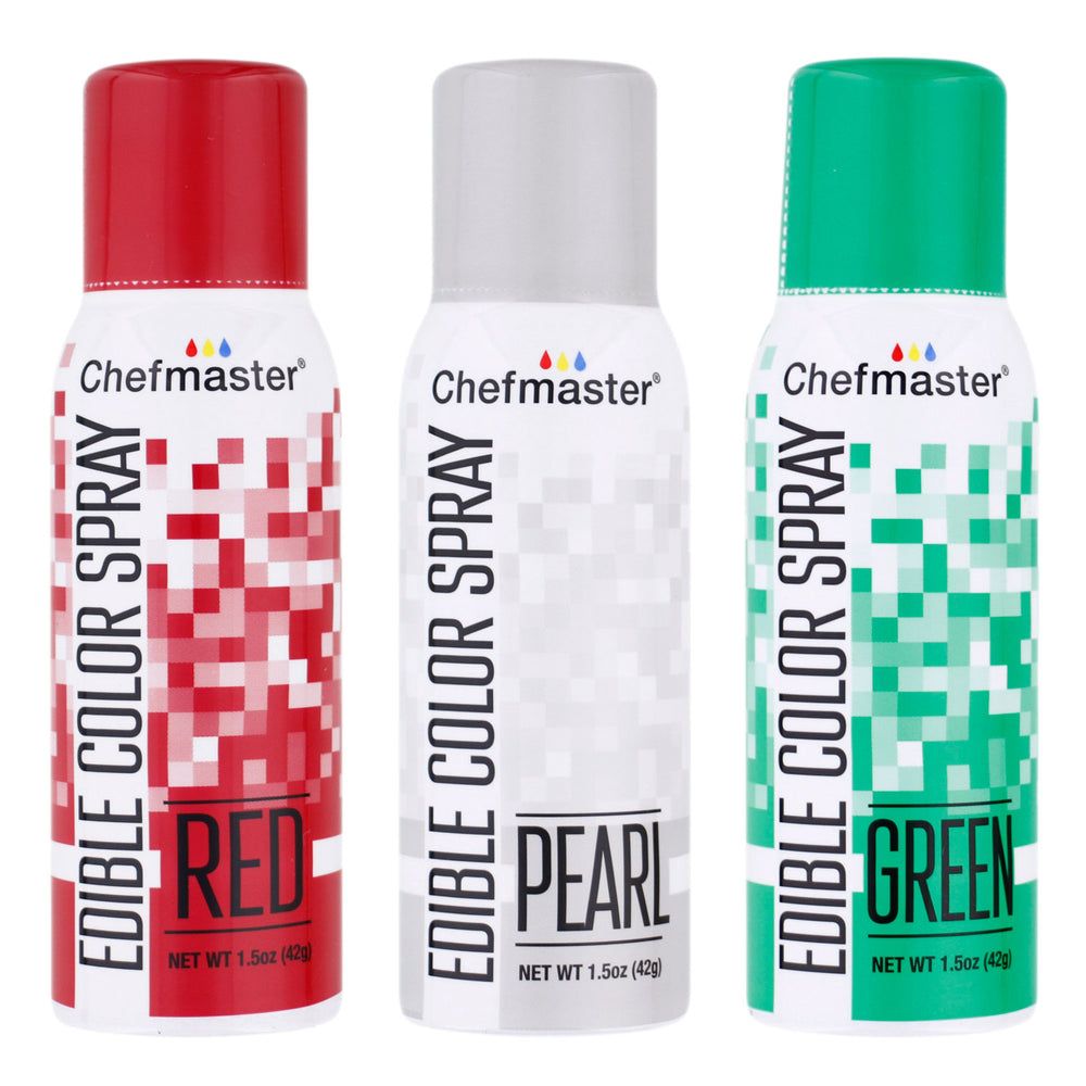 Chefmaster Edible Spray Color Christmas Theme 3-Pack - 1.5 ounce Cans (Red, Green, Pearl)