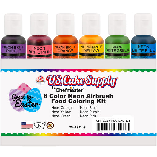 6 Color Neon Cake Food Coloring Liqua-Gel Easter Egg Decorating Baking Set - U.S. Cake Supply .75 fl. Oz. (20ml) Bottles