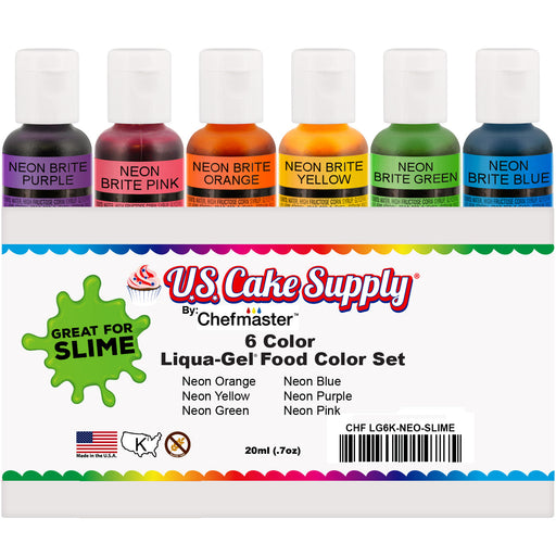 6 Neon Colors Food and Slime Coloring Liqua-Gel Decorating Kit ? U.S. Art Supply Food Grade, 0.75 fl. oz. (20ml) Bottles, Non-Toxic Neon Colors