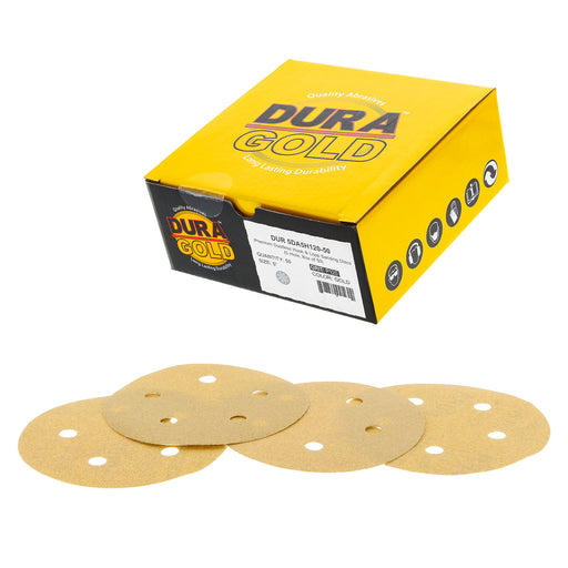 "Dura-Gold - Premium - 120 Grit - 5"" Gold Sanding Discs - 5-Hole Dustless Hook and Loop for DA Sander - Box of 50 Finishing Sandpaper Discs for Woodworking or Automotive"