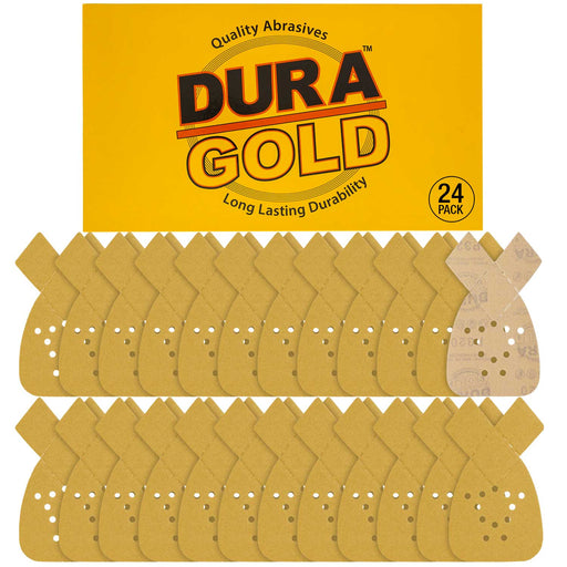 Dura-Gold - Premium Hook & Loop - 320 Grit 12-Hole Hook & Loop Sanding Sheets for Mouse Sanders - Box of 24 Sandpaper Finishing Sheets for Automotive and Woodworking