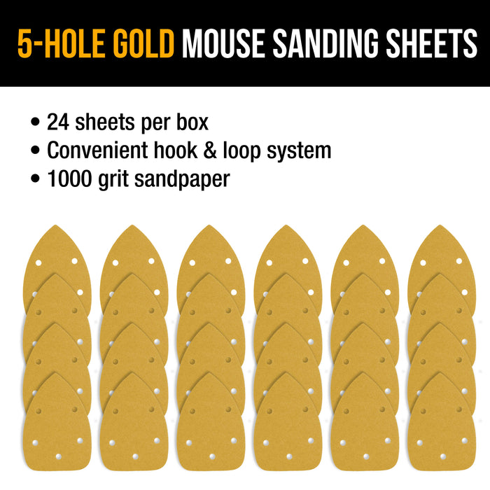 1000 Grit - 5-Hole Pattern Hook & Loop Sanding Sheets for Mouse Sanders - Box of 24
