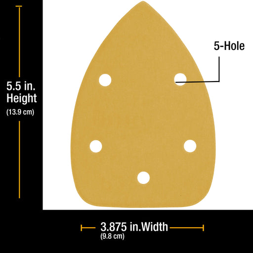 1500 Grit - 5-Hole Pattern Hook & Loop Sanding Sheets for Mouse Sanders - Box of 18
