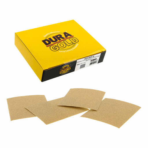 "40 Grit - 1/4 Sheet Hook & Loop Sandpaper 5.5"" x 4.5"" - For Automotive & Wookworking Palm Sanders - Box of 16"