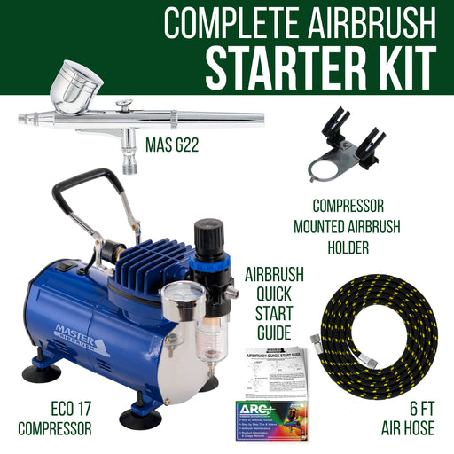 Professional Master Airbrush Multi-Purpose Gravity Feed Airbrushing System Kit - Model G22 Gravity Feed Dual-Action Airbrush with 1/3 oz. Fluid Cup and 0.3 mm Tip, Hose, Powerful 1/5hp Air Compressor
