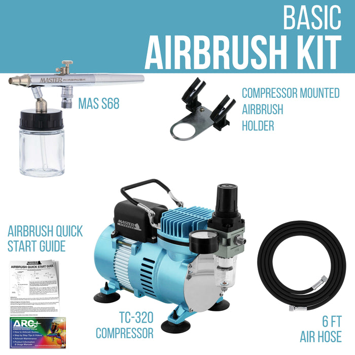 Multi-Purpose Airbrushing System Kit with Siphon Feed Dual-Action Airbrush 0.35 mm Tip, 3/4 oz Fluid Cup, Pro 1/5 hp Cool Runner II Dual Fan Air Compressor - Hose, Holder, How To Guide
